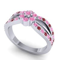 Simple Floral Pave Kalikda Pink Tourmaline Ring with Ruby in 14k White Gold