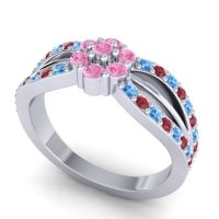 Simple Floral Pave Kalikda Pink Tourmaline Ring with Ruby and Swiss Blue Topaz in 18k White Gold