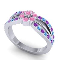 Simple Floral Pave Kalikda Pink Tourmaline Ring with Swiss Blue Topaz and Amethyst in Palladium