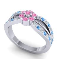 Simple Floral Pave Kalikda Pink Tourmaline Ring with Swiss Blue Topaz and Diamond in 18k White Gold