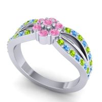 Simple Floral Pave Kalikda Pink Tourmaline Ring with Swiss Blue Topaz and Peridot in Platinum