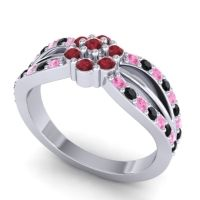 Simple Floral Pave Kalikda Ruby Ring with Black Onyx and Pink Tourmaline in 14k White Gold