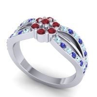Simple Floral Pave Kalikda Ruby Ring with Blue Sapphire and Aquamarine in Palladium