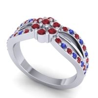 Simple Floral Pave Kalikda Ruby Ring with Blue Sapphire in Platinum
