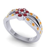 Simple Floral Pave Kalikda Ruby Ring with Diamond and Citrine in 14k White Gold