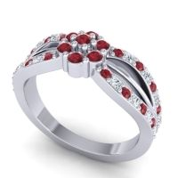 Simple Floral Pave Kalikda Ruby Ring with Diamond in Platinum