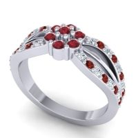 Simple Floral Pave Kalikda Ruby Ring with Garnet and Diamond in Platinum