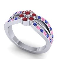 Simple Floral Pave Kalikda Ruby Ring with Pink Tourmaline and Blue Sapphire in Palladium