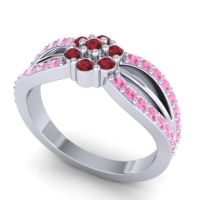 Simple Floral Pave Kalikda Ruby Ring with Pink Tourmaline in 14k White Gold