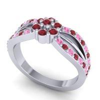 Simple Floral Pave Kalikda Ruby Ring with Pink Tourmaline in Palladium