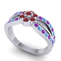 Simple Floral Pave Kalikda Ruby Ring with Swiss Blue Topaz and Amethyst in Platinum