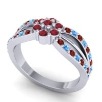 Simple Floral Pave Kalikda Ruby Ring with Swiss Blue Topaz and Garnet in 18k White Gold