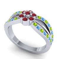 Simple Floral Pave Kalikda Ruby Ring with Swiss Blue Topaz and Peridot in 14k White Gold