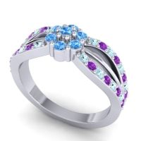 Simple Floral Pave Kalikda Swiss Blue Topaz Ring with Amethyst and Aquamarine in 18k White Gold