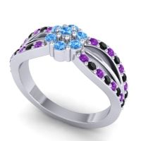 Simple Floral Pave Kalikda Swiss Blue Topaz Ring with Black Onyx and Amethyst in 14k White Gold