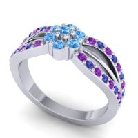 Simple Floral Pave Kalikda Swiss Blue Topaz Ring with Blue Sapphire and Amethyst in 18k White Gold