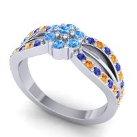 Simple Floral Pave Kalikda Swiss Blue Topaz Ring with Citrine and Blue Sapphire in 14k White Gold