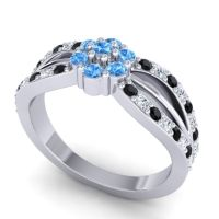 Simple Floral Pave Kalikda Swiss Blue Topaz Ring with Diamond and Black Onyx in Platinum