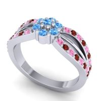 Simple Floral Pave Kalikda Swiss Blue Topaz Ring with Garnet and Pink Tourmaline in 14k White Gold