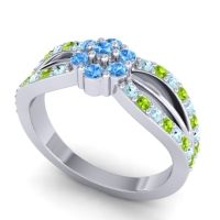 Simple Floral Pave Kalikda Swiss Blue Topaz Ring with Peridot and Aquamarine in Palladium