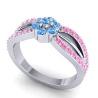 Simple Floral Pave Kalikda Swiss Blue Topaz Ring with Pink Tourmaline in Platinum