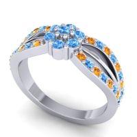 Simple Floral Pave Kalikda Swiss Blue Topaz Ring with Citrine in Platinum