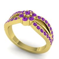 Simple Floral Pave Kalikda Amethyst Ring in 18k Yellow Gold
