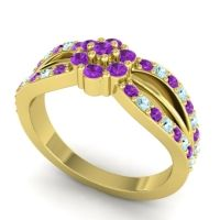 Simple Floral Pave Kalikda Amethyst Ring with Aquamarine in 14k Yellow Gold
