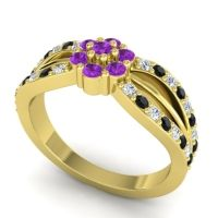 Simple Floral Pave Kalikda Amethyst Ring with Black Onyx and Diamond in 18k Yellow Gold