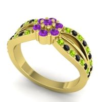 Simple Floral Pave Kalikda Amethyst Ring with Black Onyx and Peridot in 18k Yellow Gold