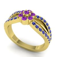 Simple Floral Pave Kalikda Amethyst Ring with Blue Sapphire in 14k Yellow Gold