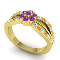Simple Floral Pave Kalikda Amethyst Ring with Citrine and Aquamarine in 14k Yellow Gold