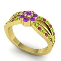 Simple Floral Pave Kalikda Amethyst Ring with Ruby and Peridot in 18k Yellow Gold