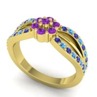 Simple Floral Pave Kalikda Amethyst Ring with Swiss Blue Topaz and Blue Sapphire in 14k Yellow Gold