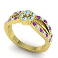 Simple Floral Pave Kalikda Aquamarine Ring with Amethyst in 18k Yellow Gold