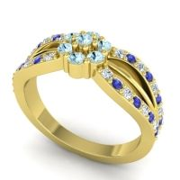 Simple Floral Pave Kalikda Aquamarine Ring with Blue Sapphire and Diamond in 18k Yellow Gold