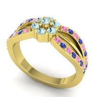 Simple Floral Pave Kalikda Aquamarine Ring with Blue Sapphire and Pink Tourmaline in 14k Yellow Gold