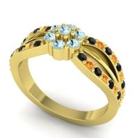 Simple Floral Pave Kalikda Aquamarine Ring with Citrine and Black Onyx in 18k Yellow Gold