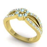 Simple Floral Pave Kalikda Aquamarine Ring with Diamond in 18k Yellow Gold