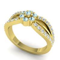 Simple Floral Pave Kalikda Aquamarine Ring with Diamond in 18k Yellow Gold