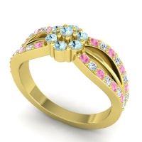 Simple Floral Pave Kalikda Aquamarine Ring with Diamond and Pink Tourmaline in 18k Yellow Gold