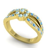 Simple Floral Pave Kalikda Aquamarine Ring with Diamond and Swiss Blue Topaz in 18k Yellow Gold