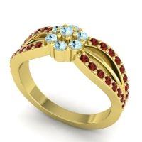 Simple Floral Pave Kalikda Aquamarine Ring with Garnet in 18k Yellow Gold