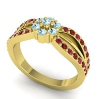 Simple Floral Pave Kalikda Aquamarine Ring with Garnet and Ruby in 14k Yellow Gold