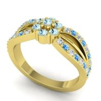 Simple Floral Pave Kalikda Aquamarine Ring with Swiss Blue Topaz and Diamond in 18k Yellow Gold