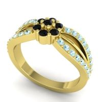 Simple Floral Pave Kalikda Black Onyx Ring with Aquamarine in 18k Yellow Gold