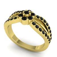 Simple Floral Pave Kalikda Black Onyx Ring in 18k Yellow Gold