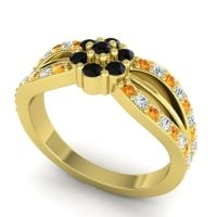 Simple Floral Pave Kalikda Black Onyx Ring with Diamond and Citrine in 14k Yellow Gold