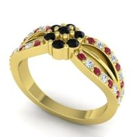 Simple Floral Pave Kalikda Black Onyx Ring with Diamond and Ruby in 18k Yellow Gold
