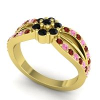 Simple Floral Pave Kalikda Black Onyx Ring with Pink Tourmaline and Garnet in 18k Yellow Gold